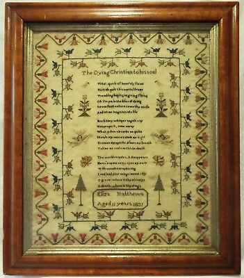 Early 19Th Century Verse & Motif Sampler By Eliza Matthews Aged 11 - 1831