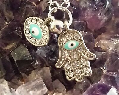 WOW - NEW PROTECTIVE HAMSA HAND & EVIL EYE PENDANT on 42cm ext silver chain