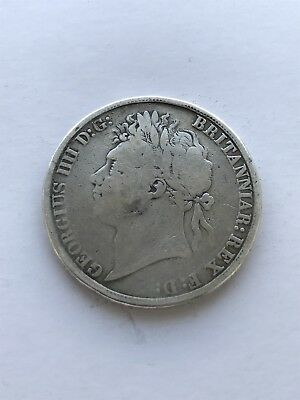 1821 George 1111/ 4th Silver Crown , Good Comdition !