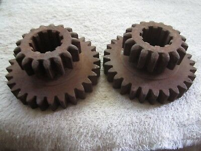 """2 Matching Vintage Industrial Steampunk 4"""" Iron Gear Double Sprockets Lamp Bases"""