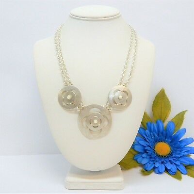Marjorie Baer Sf Silver Tone Panel Necklace With Mother Of Pearl Accents