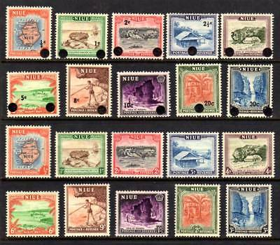 NIUE, MUH 2 Sets of 10, 1950 Pictorial Issue + 1967 Decimal Currency Overprints