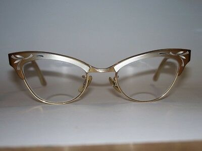 Bausch & Lomb Cat Eye Office Retro Rockabilly Glasses Gold Filled and Aluminum