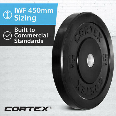 CORTEX Olympic Rubber Bumper Plates 15kg IWF 450mm Diameter for 50mm Sleeve