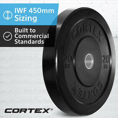 CORTEX Olympic Rubber Bumper Plates 20kg IWF 450mm Diameter for 50mm Sleeve