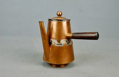 Modernist Mixed Metals Copper Silver Coffee Chocolate Pot Victoria Taxco Mexico
