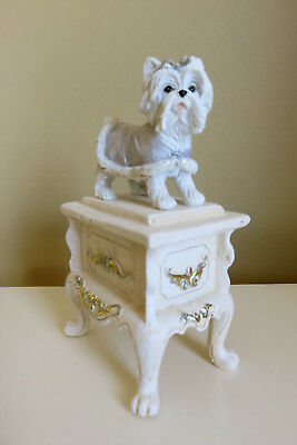 Yorkshire Terrier Puppy Dog Sitting on a Table Bedroom Decor Resin New 5.5 in.
