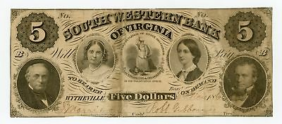 1860 $5 The South Western Bank of Virginia - Wytheville, VIRGINIA Note