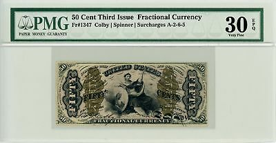 """3rd Issue Fr.1347 50c U.S. """"Justice"""" Fractional Currency Note - PMG VF 30 EPQ"""