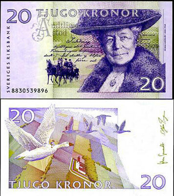 SWEDEN 20 KRONOR 2008 P 63 UNC SIGN Johan Gernandt Stefan Ingves LOT 3 PCS