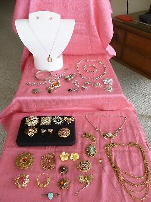 GREAT 39 PIECE LOT of VINTAGE COSTUME JEWELRY w SOME STERLING SILVER & 10K GOLD
