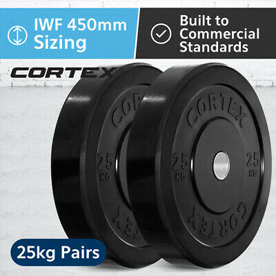 CORTEX Olympic Rubber Bumper Plates in Pairs 25kg IWF 450mm Diameter