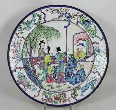 18-19Th C Chinese Canton Enamel Plate, 6 Character Qianlong Mark