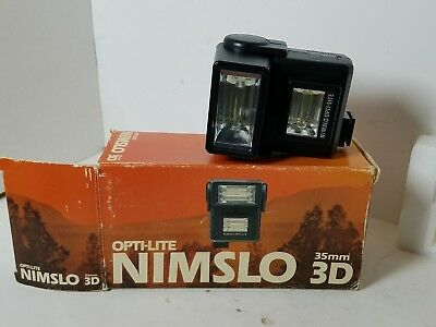 Nimslo OPTI-LITE Flash for 35MM 3D camera - TESTED WORKS WITH BOX