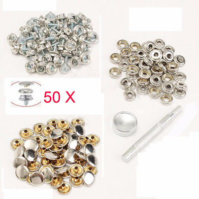 50 Set 15mm Snap Fastener Stainless Steel Canvas to Screw Press Stud Boat Cover