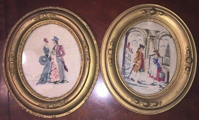 Estate Needlepoint 2 Tapestries Lot ANTIQUE CIRCA 1800's OVAL WOOD FRAMES GLASS