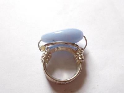 VINTAGE 1970's HANDMADE DUCK EGG BLUE GLASS OR STONE SILVER TONE COCKTAIL RING