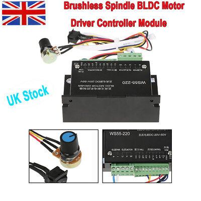 WS55-220 DC 48V 500W CNC Brushless Spindle BLDC Motor Driver Controller UK Stock