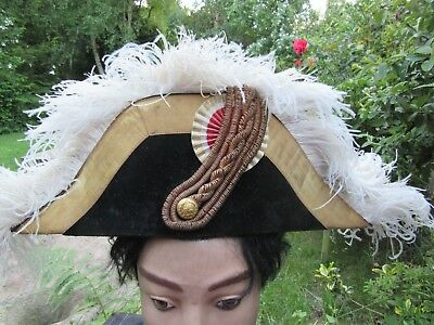 Antique French Military Bicorn Hat Paris Maker BL with Crown to top Ex France