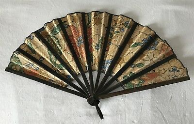 Vintage V Good Condition Bamboo Slatted Cloth Hand Fan Thick Colourful Material