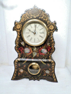 Original Gilt, Floral Painted & Mother of Pearl Cast Iron Front Clock--1860's