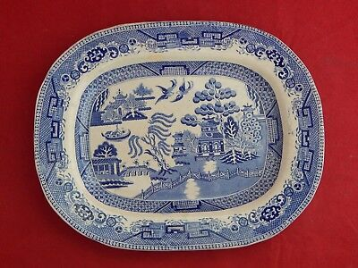 Antique Blue Willow Platter. 12 3/4 Inches By 10.