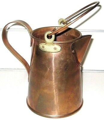 Vintage Solid Copper POT Pail JUG with Handle and Brass Fittings