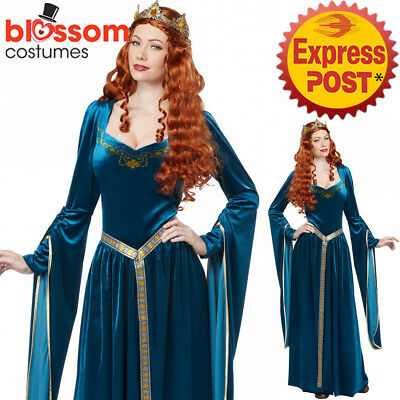 C142 Teal Lady Guinevere Medieval Womens Costume