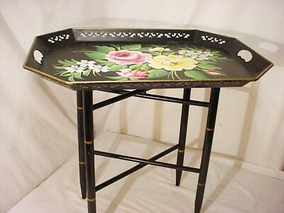 "Vtg Black Floral Metal Tray Table Wood Stand Toleware 22x16x19.5""H Coffee Accent"