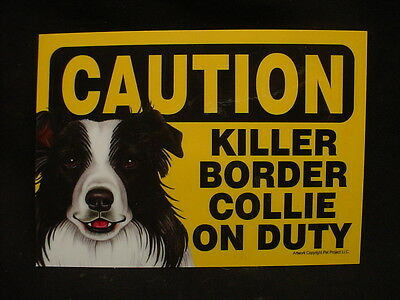 CAUTION sign KILLER BORDER COLLIE ON DUTY puppy DOG Plaque magnet NOVELTY