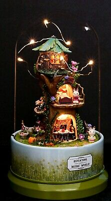 HIY Handcraft Miniature Rotating Music World Sylvanian Family Country Tree House