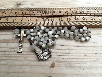 A Vintage Silver 800 And Mother Of Pearl Rosary, Vintage Rosary