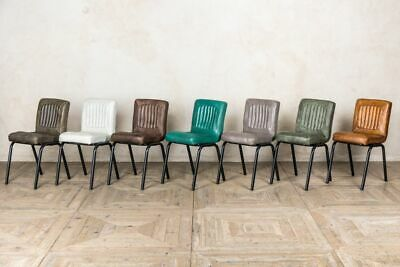 Leather Dining Chairs 3 Colours Vintage Style Matching Stools Available