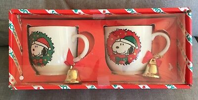 VERY RARE!! DETERMINED Peanuts Snoopy Coffee cups mugs bells set 2 original box