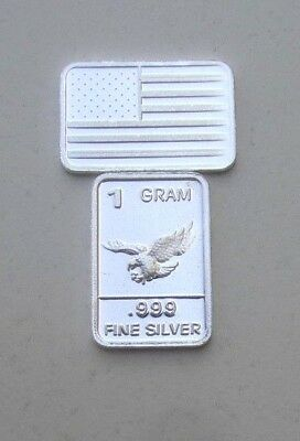 Usa Bullion, Lot Of 2, One Gram Bars, 0.999 Silver, 2 Grams Of Fine Silver