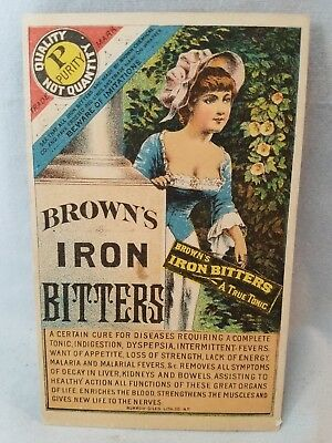 Late 1800's Trade Card Quack Medicine Browns Iron Bitters Buxom Woman NO Reserve