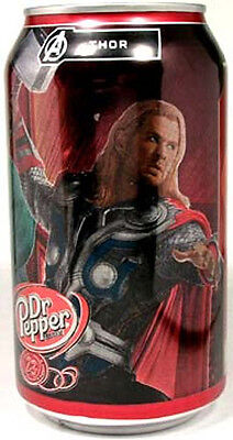 "EMPTY UNOPENED 12oz American Dr. Pepper Limited Edition ""Avengers Thor"" USA 2012"