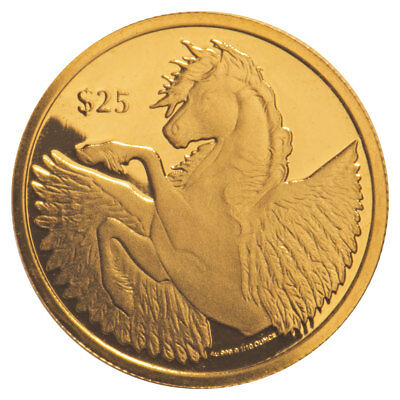 2018 British Virgin Islands 1/10 oz Gold Pegasus $25 Coin GEM Prooflike SKU54338