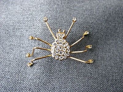 Vintage cute clear rhinestones golden metal large spider pin