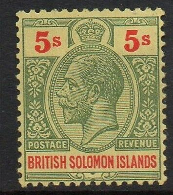 British Solomon Ils., 1914-23, 5/- green & red/buff, l.m.mint, sg 36a.