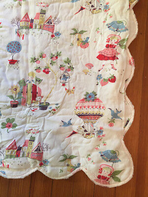 vtg SAKS FIFTH AVE. Baby Boutique QUILT Nursery crib blanket wall hanging 1960s