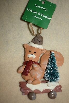 Christmas Ornament, 17-NWT  Squirrel on Wood Cart with Tree  Adorable LOOK