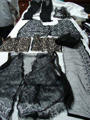 Black Antique Lace Fabric Scraps ~~ Sleeves Bodice Trim