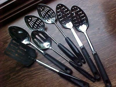 7 pc Lot Vintage Ekco SERVING Utensils (1) Spatula (1) Spoon (5) Slotted Spoons