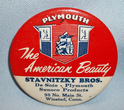 Vtg. Plymouth Amer. Beauty Automobile Pocket Mirror-Stavnitzky Bros. Winsted,ct.