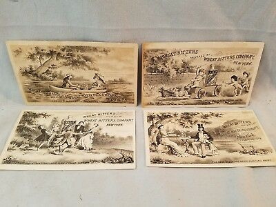 4 Diff Late 1800's Trade Cards Quack Medicine Wheat Bitters Diff Cures NO Res