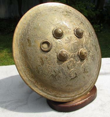 Superb Large 19th Century Indian Brass Dhal Shield - Finest Engraving
