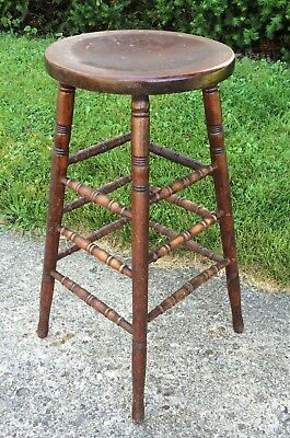 """Antique Wood Farm House Bar Counter 32"""" Stool Spindle Turned 4 Leg 3 Stretcher"""