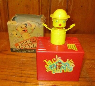 VINTAGE JACK IN THE BANK - TOPIC TOYS - ALL PLASTIC c. 1940s-'50s - RARE