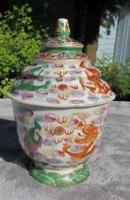 FINE RARE ANTIQUE 19thC CHINESE FAMILLE DRAGON ROSE POT & COVER